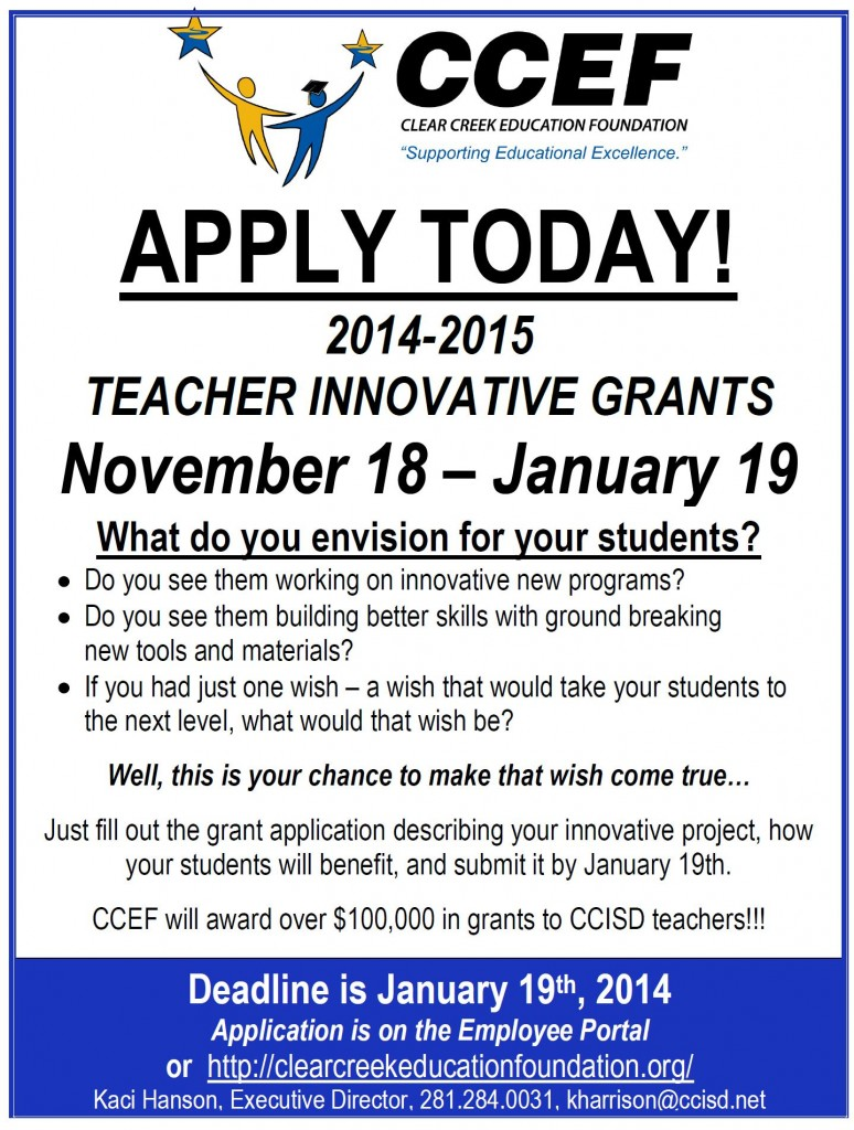 Innovative Classroom Grants ~ Teacher innovative grants application clear creek